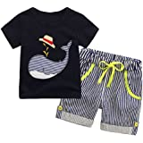 Blaward Toddler Kids Baby Boys Anchor Pattern Button Down T-Shirt Tops+Shorts Pants Outfit Clothes Set