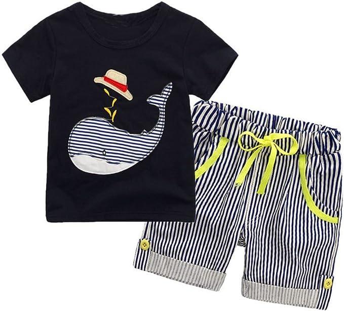 UK Kid Baby Boy Gentleman Clothes Dinosaur Tops Shirt+Shorts Pants Outfit Summer
