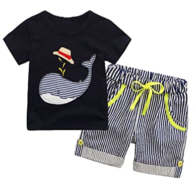 f0cf987e5ce8 BAOBAOLAI Baby Boys Summer Outfits Whale Short Sleeved Shirt + Striped Shorts  Pants Set, Whale