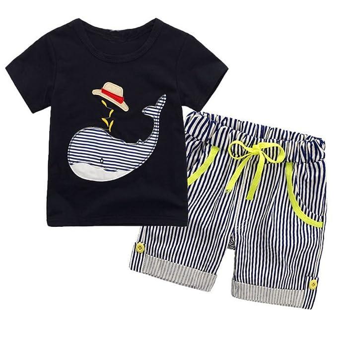 aa5287a62f1e BOBORA Baby Boy Kids Summer Clothes Set Cartoon Whale Short Sleeved Tops  with Elastic Striped Short Pants  Amazon.co.uk  Clothing