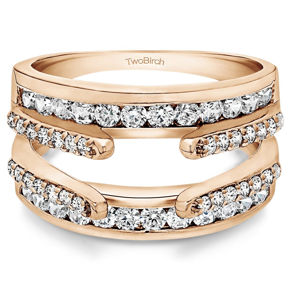 10k Rose Gold Combination Cathedral and Classic Ring Guard with Cubic Zirconia (0.49 ct. tw.) by TwoBirch