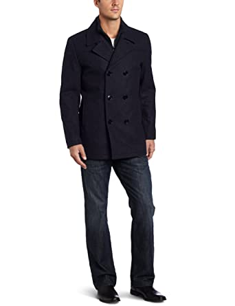 Kenneth Cole Men S Pea Coat With Bib At Amazon Men S Clothing Store