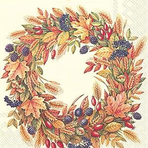 Harvest Crown Autumn Wreath 3-Ply Paper Cocktail Napkins 20-Count, Fall Barware Serviettes