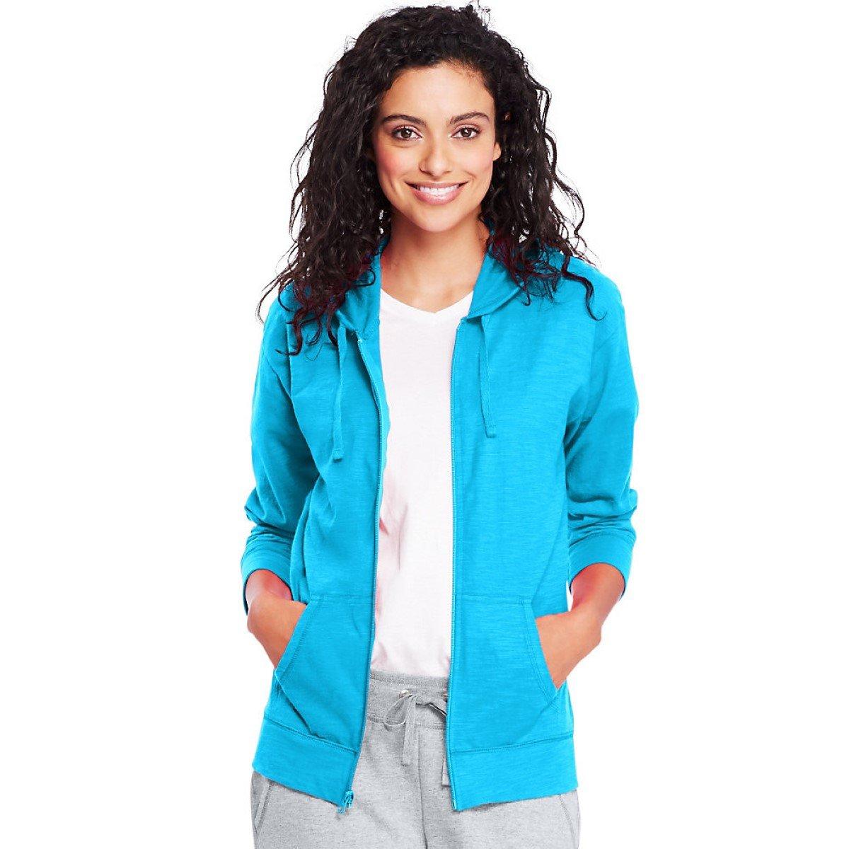 Hanes by Womens Slub Jersey Hoodie O9249_Process Blue_XL