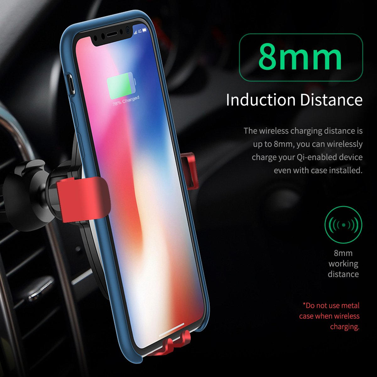 iPhone X Samsung Galaxy S8//S8+//Note 8//S7//S7 Edge and Other QI Enabled Devices More/&Better 4351483917 Wireless Car Charger Qi Wireless Charger Car Mount Gravity Phone Holder Compatible for Apple iPhone 8//8plus
