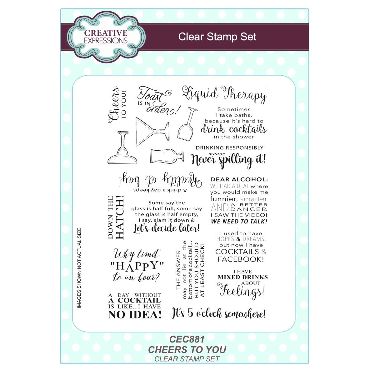 Creative Expressions CLEAR STAMPS Cheers To You 152 X 216 X 05