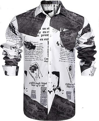 COOFANDY - Camisa casual para hombre, manga larga, diseño vintage con botones: Amazon.es: Ropa y accesorios