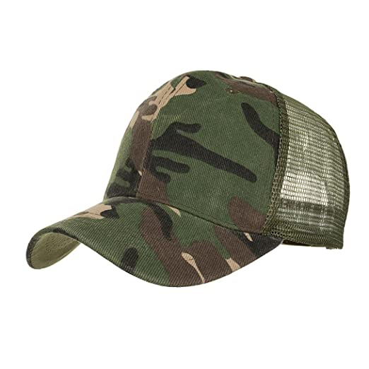ba74b204770 Amazon.com  Fashion Camouflage Summer Cap Mesh Hats for Men Women Casual Hats  Hip Hop Baseball Caps Outdoor Sun Hat Adjustable (Army Green)  Clothing
