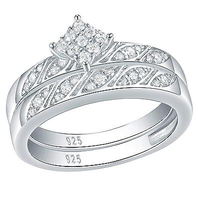 Wuziwen Cluster Engagement Ring Sets For Women Cz Cubic Zirconia Wedding Set 925 Sterling Silver