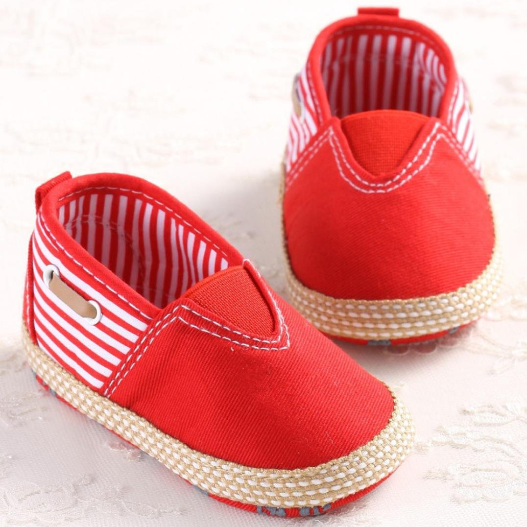Baby Sneakers Girls,Amiley Sweet Infant Toddler Baby Girls Boys Canvas Soild Non-Slip Soft Sole Shoes First Walker Causal Crib Flat Sneakers Shoes 6~12 Month Red, inches:4.7