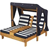 Great KidKraft Outdoor Double Chaise Lounge, Honey/Navy/White, One Size