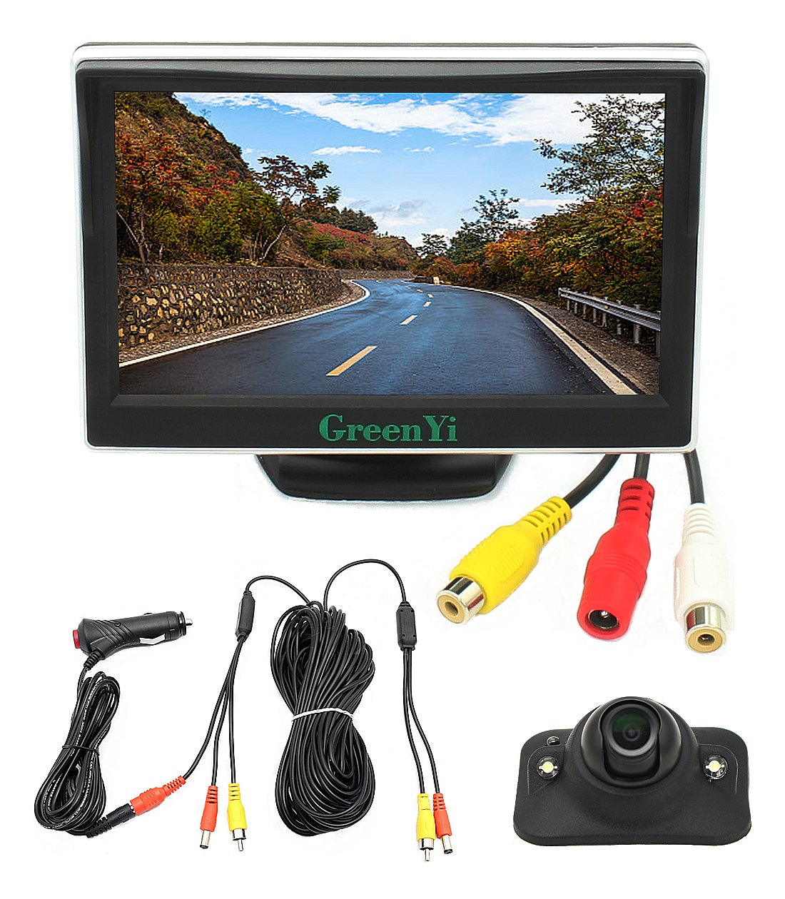 Integrated Car Wired Side View Camera Monitor System, LED Blind Spot HD Camera Kit + 5'' HD TFT LCD Color Display, Powered by Cigarette Lighter