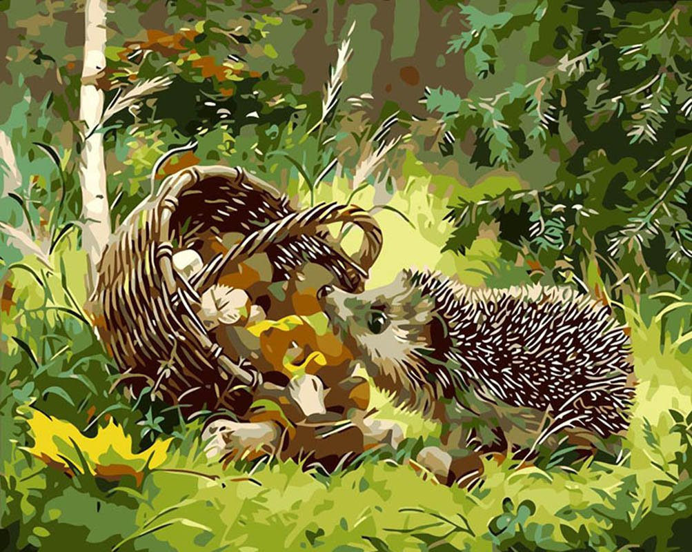 DIY Painting By Numbers Hedgehog Animals Modern Wall Art Picture Hand Painted Oil Painiting on Canvas for Gift FOCAILAI