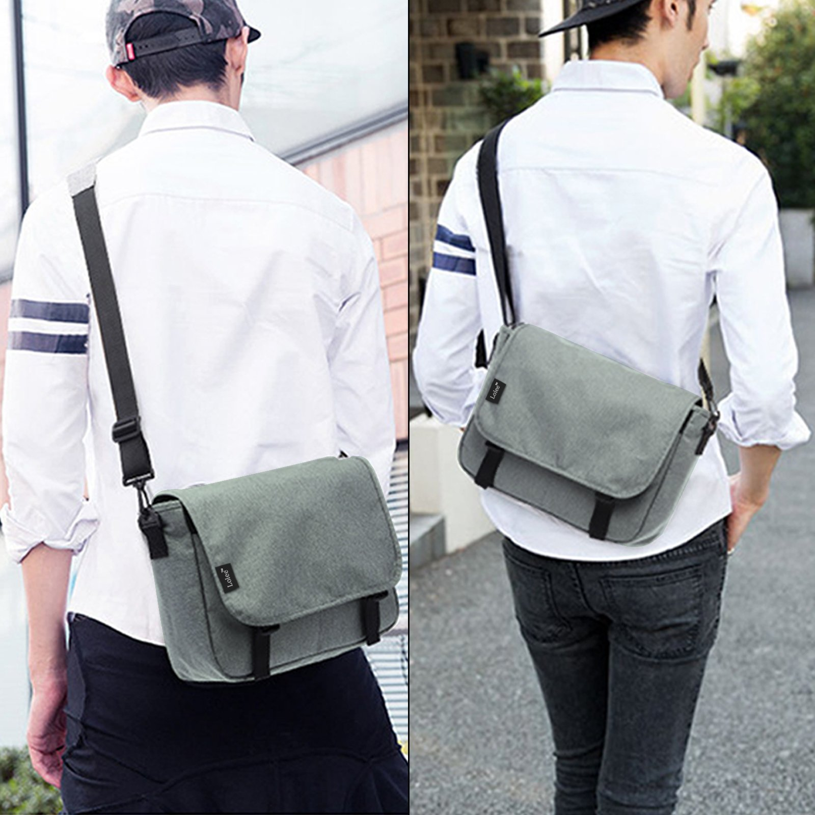 Loiee 14 inches Classic Canvas Messenger Bag,Water Resistant Vintage School Bag,Grey by Loiee (Image #7)