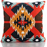 HT&PJ Decorative Super Soft Fabric Square Throw Pillow Case Cushion Cover European Geometric Pattern Design 18 x 18 Inches