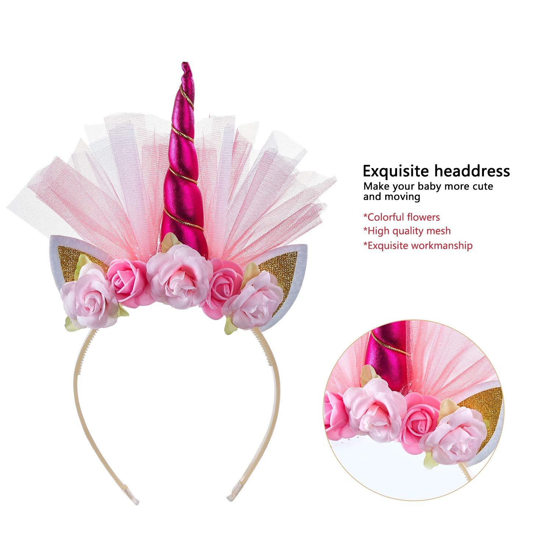 Girls Rainbow Tutus Layered Unicorn Skirt Tulle Costume for Kids Dress up with Unicorn Headband