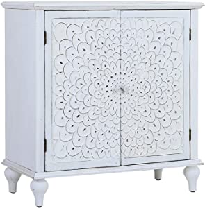 Sophia & William Accent Storage Cabinet with 2 Doors, Decorative Display Organizer Distressed Console Cabinet with Wooden Frame and Carved Finch Feather Pattern for Entryway Living Room Bedroom, White