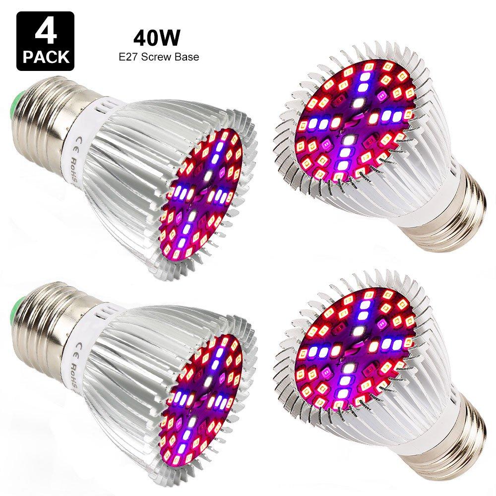 Esbaybulbs 40W Full Spectrum LED Grow Light Bulbs E26 4 Pack, Grow Lamp Plant Light for Hydroponics Greenhouse Organic Indoor Plants