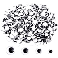 UPINS 300 Pcs Black Wiggle Googly Eyes with Self-Adhesive, 6mm 8mm 10 mm 12mm Mixed Packaging
