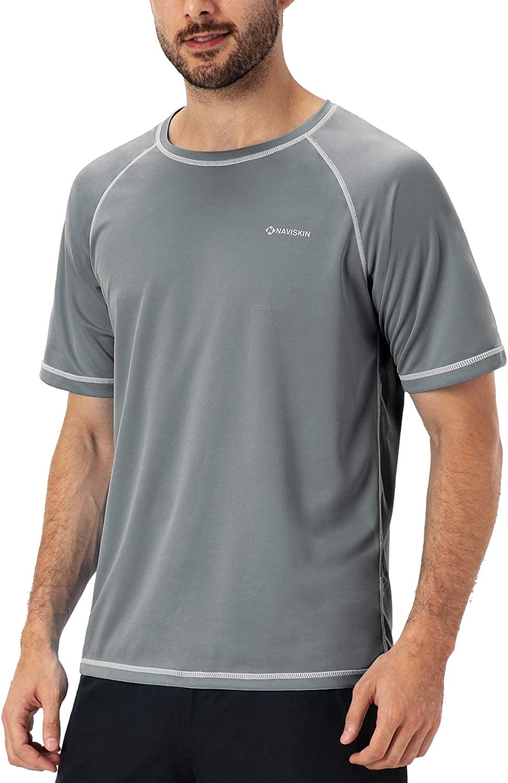NAVISKIN Mens Short Sleeve Rash Guard Swim Shirt Lightweight Quick Dry Outdoor Shirt UPF 50 Sun Protection