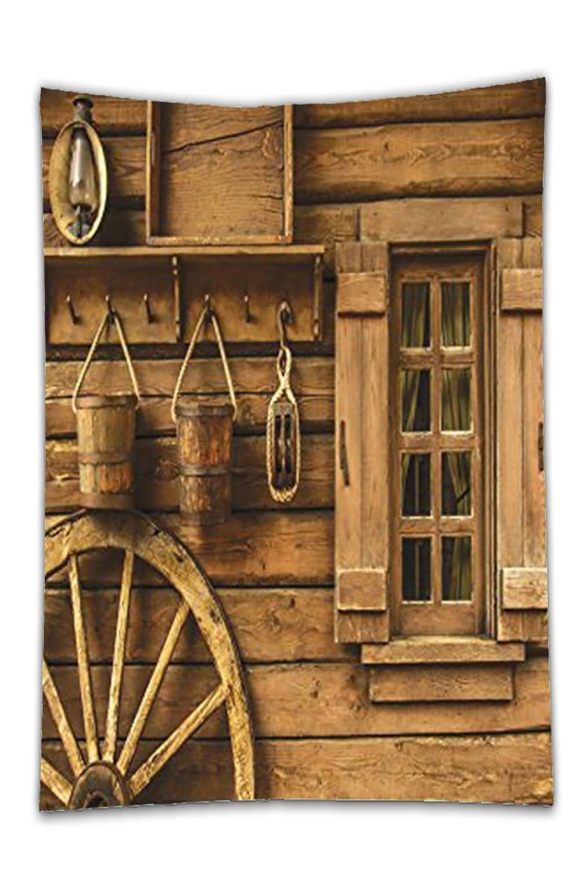 Western Decor Collection Antigua Rueda de Carro rústico de madera Vintage farol ventana y cubos de accesorios marrón mesa de comedor cocina rectangular de ...