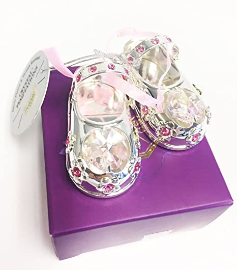 924d6751430 Baby Shoes Silver Plated with Pink Swarovski Crystal - Pink Ribbon - Christening  Gift: Amazon.co.uk: Kitchen & Home