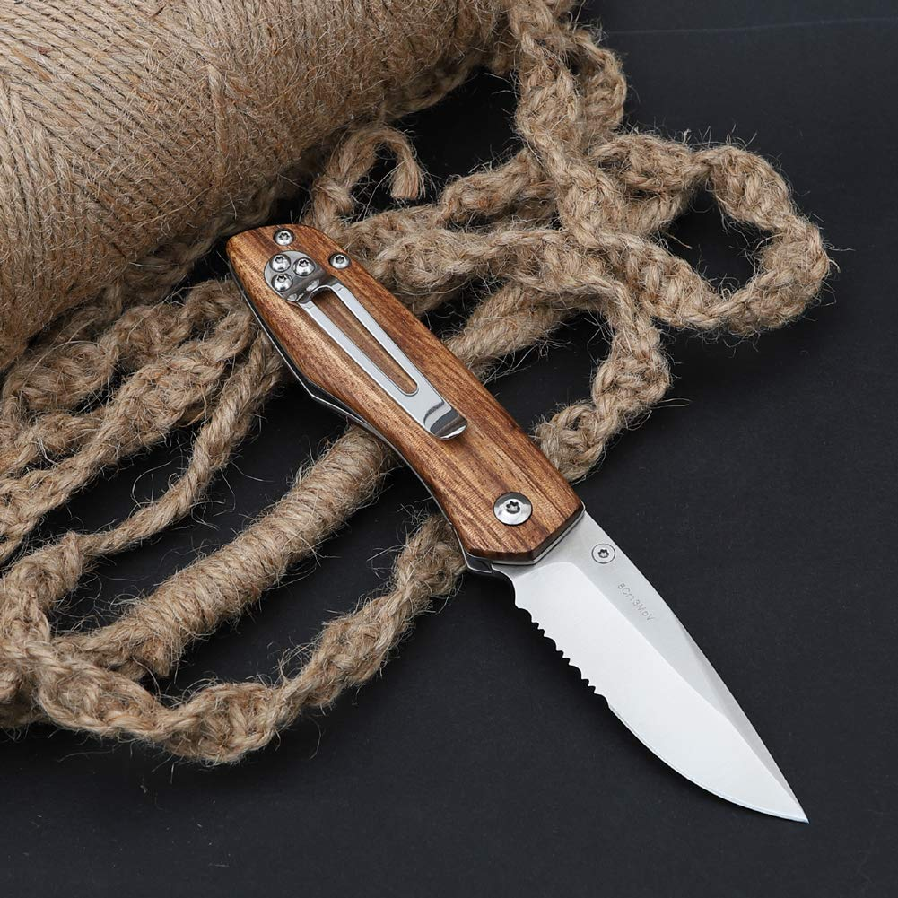 Pocket Hunting Knife with Clip,8Cr13MoV Half-serrated Stainless Steel Blade, Liner Lock Folding Tactical Knife with Zebra Wood Handle Perfect for Outdoor Camping Hunting Every Day Carry