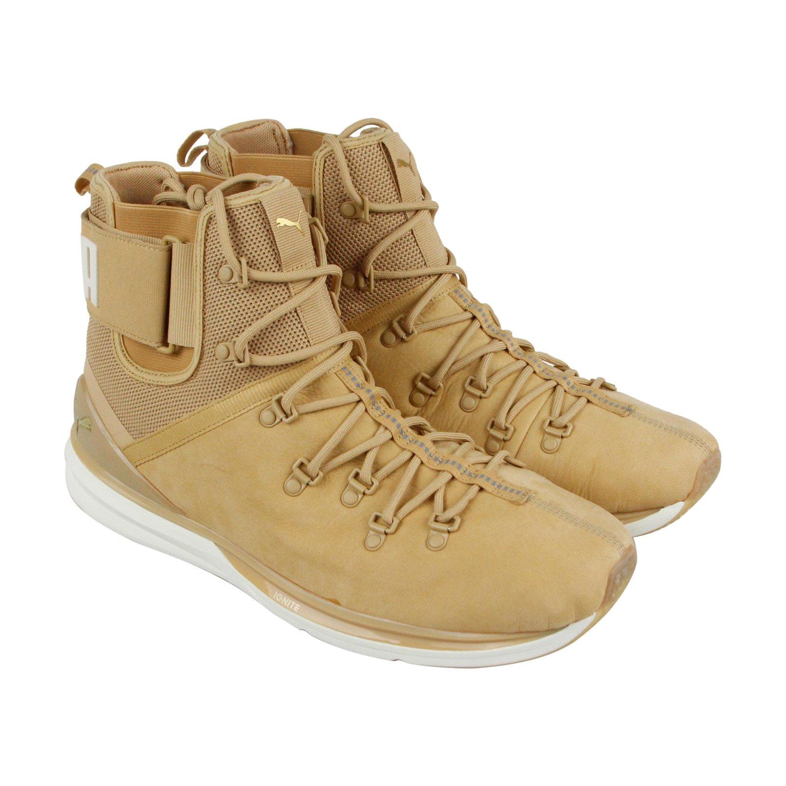 PUMA Men's Ignite Limitless Boot Leather Sneaker, Taffy-Whisper White, 11 M US