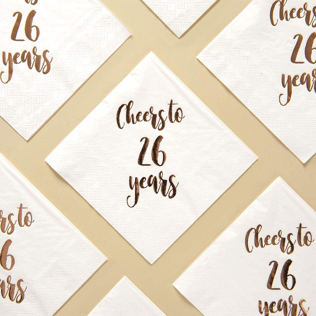 Cheers to 26 years cocktail napkins 50-pack 3ply white rose gold 26th birthday dinner celebration party decoration napkin