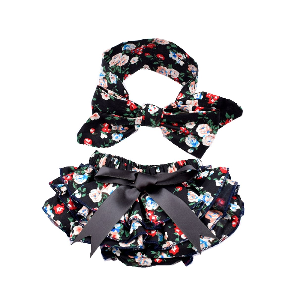 Baby Girls Diaper Cover Outfit Floral Soft Newborn Bloomer and Headband Set Czofnjes