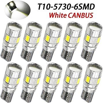 20pcs Cool White T10 5630 6-SMD Car Auto LED Backup Light Bulbs 12V 194 192 194