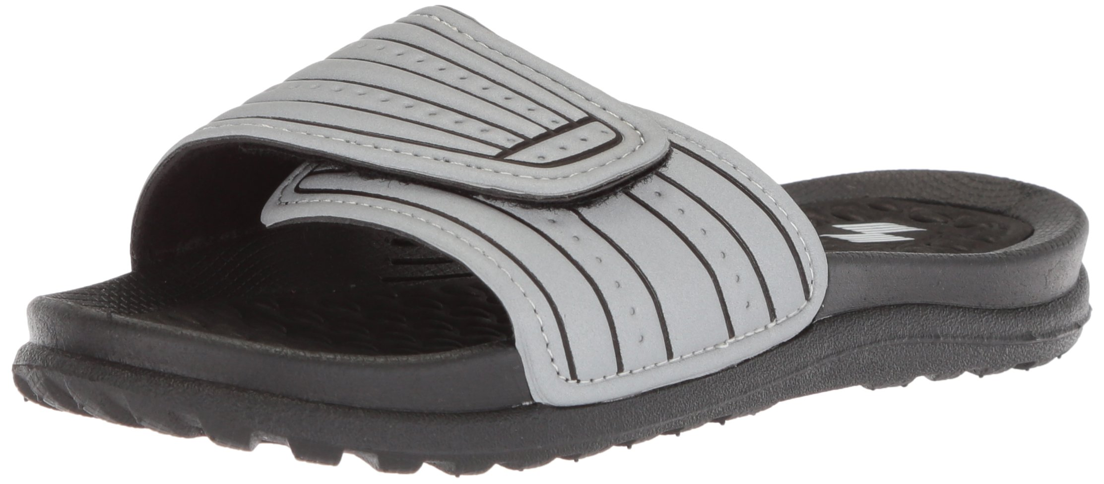 The Children's Place Boys' Slide Flat Sandal, Silver, Youth 4-5 Medium US Infant