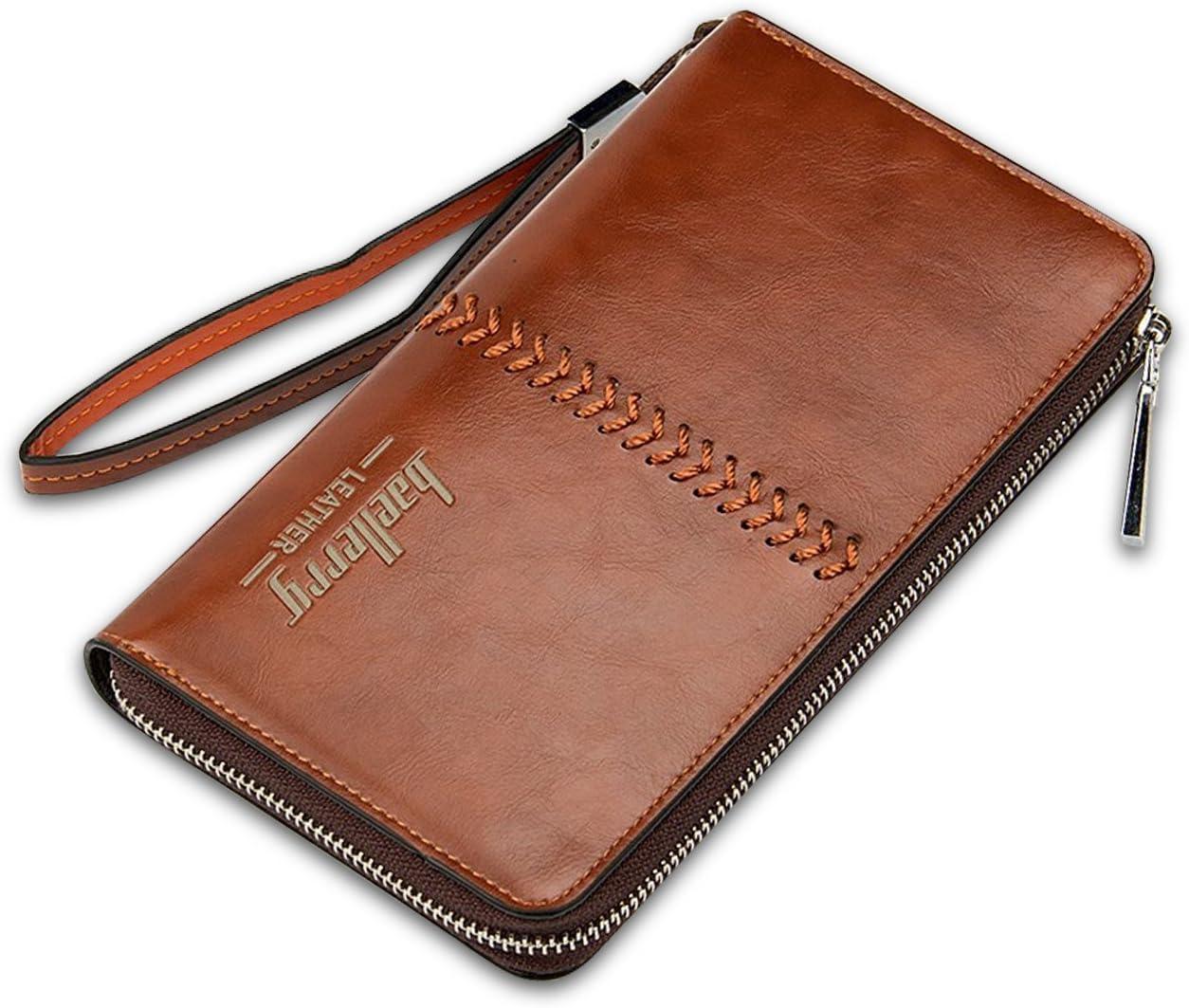 FANDARE Retro Long Portefeuille Hommes Voyager Party /Étudiants Wallet Grande Capacit/é Portable Zipper Purse Imperm/éable PU Brown
