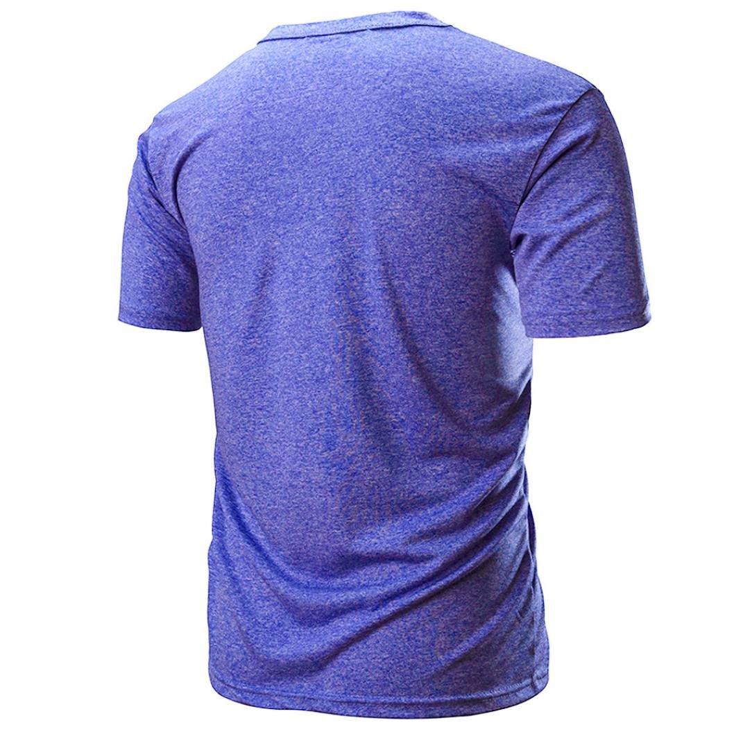 Longra ☆ Camiseta Hombre, La Camisa de Manga Corta Delgada Sólida Ocasional de los Hombres de la Manera Muscle Top Blusa/Camisa de los Deportes/Camisa del ...