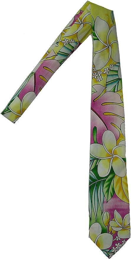 New Hawaiian Shirt Neck Tie Pink Flower Floral NeckTie Luau Hawaii US SELLER
