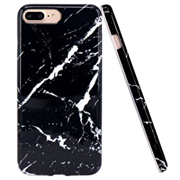 finest selection f96ef 9c9eb iPhone 7 Plus Case, iPhone 8 Plus Case, JIAXIUFEN Black Marble Design Clear  Bumper TPU Soft Case Rubber Silicone Cover Phone Case for Apple iPhone 7 ...