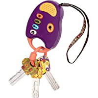 B. toys – FunKeys Toy – Funky Toy Keys for Toddlers and Babies – Toy Car Keys and Purple Remote with Light and Sounds – Non-Toxic