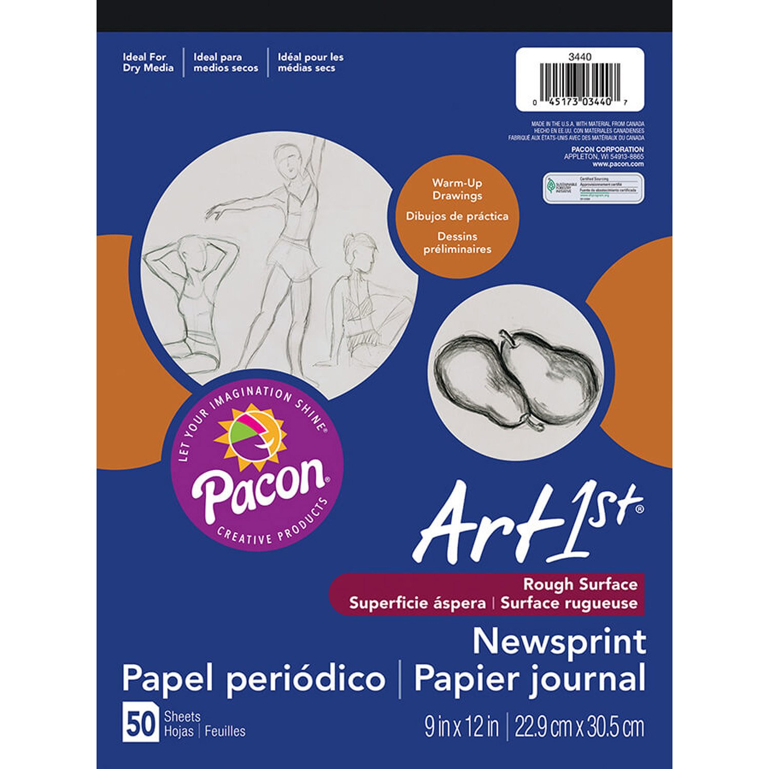 Pacon® PAC3440 Art1st® Newsprint Paper Pad, 9 x 12, 50 Sheets, White 9 x 12 Pacon Corp. 9265562