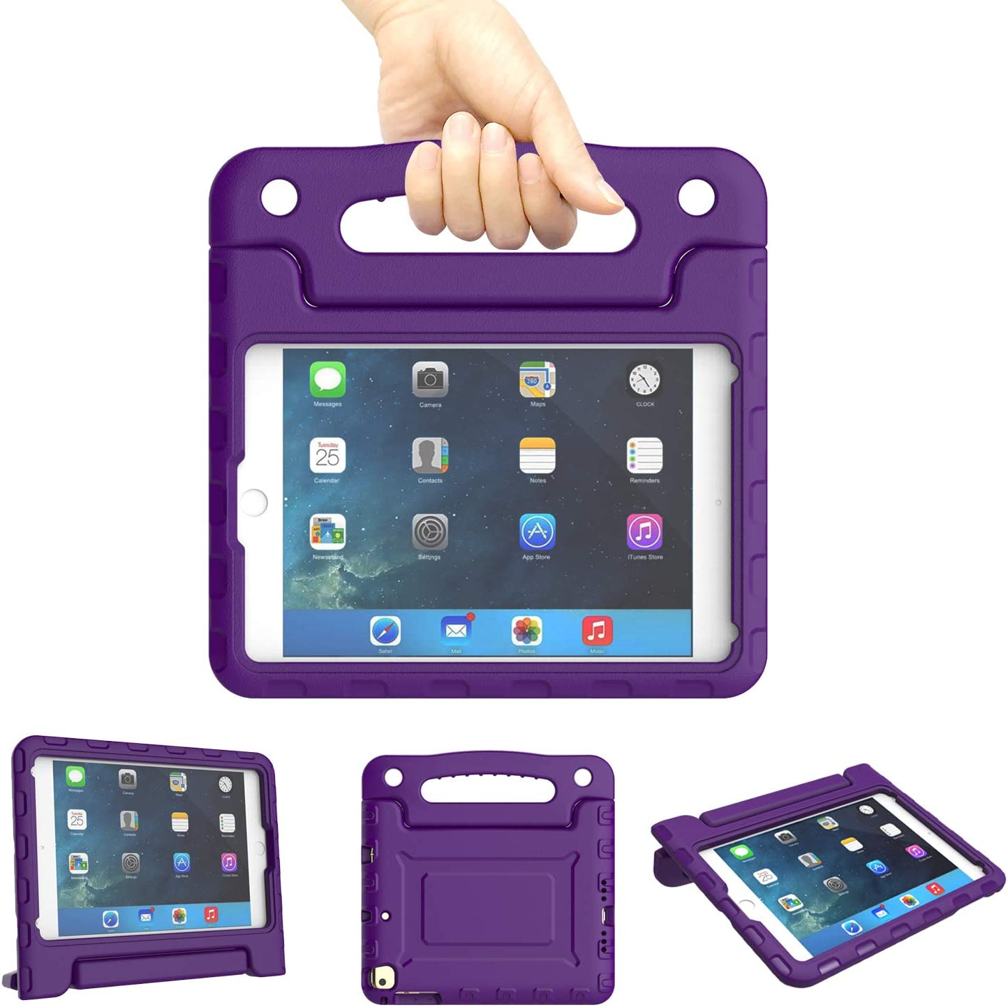 Kids Case for iPad Mini 1 2 3 4 5 Generation - Lightweight Shockproof Convertible Protection Cover with Built-in Handle Stand Children Tablet and 2019 - Retina Display (Purple)