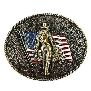 Sharplace Buckle Belt Boucle de Ceinture Style Western Cowboy Motif  Chevalier Drapeau American Embellissement de Vêtement 5bb2cb37d6b