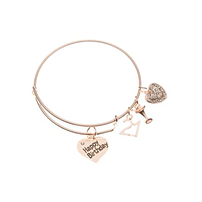 Infinity Collection 21st Birthday Gifts For Her Rose Gold Expandable Charm Bracelet