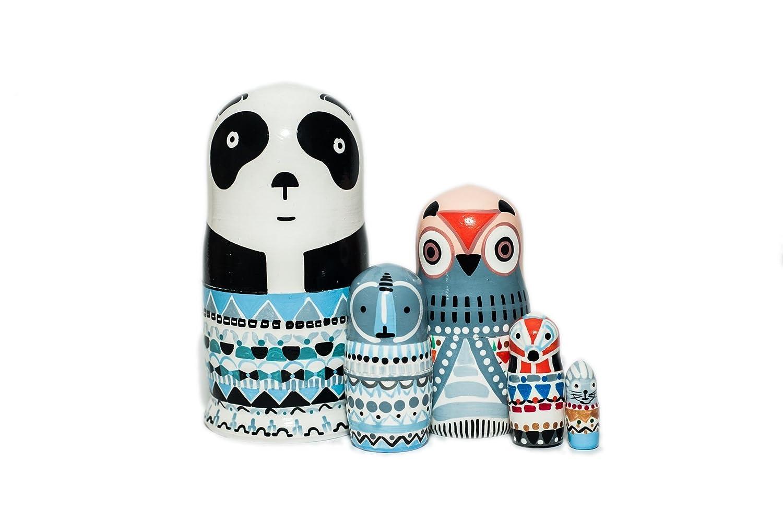 Panda Animal Nesting dolls for kids, handmade wooden stacking dolls, Montessori development skills toy, Christmas gift idea, gift for toddler, Nursery room decor