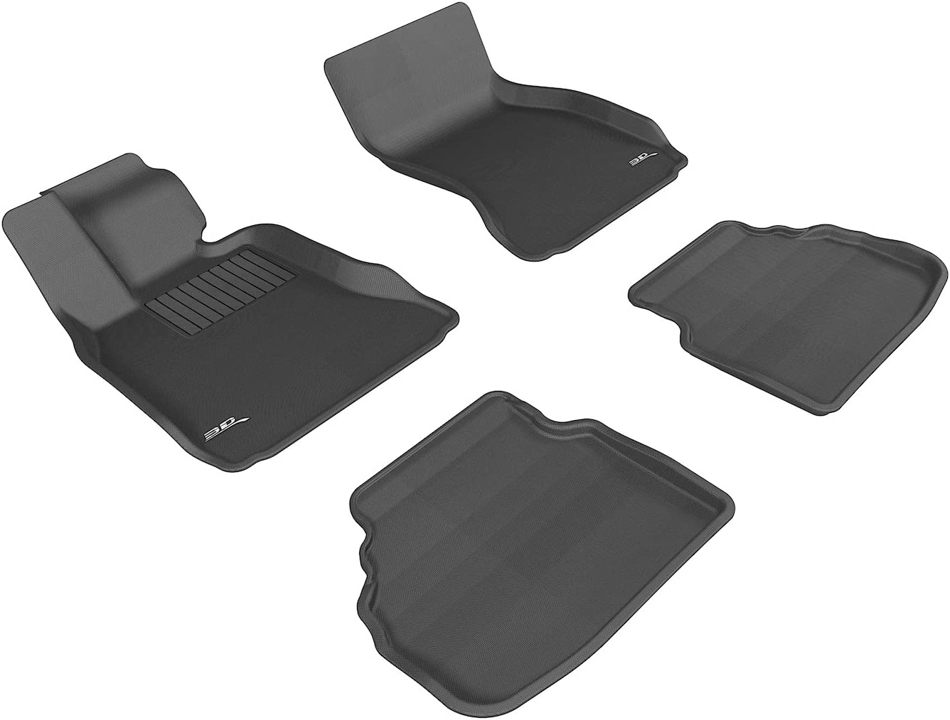 3D MAXpider Complete Set Custom Fit All-Weather Floor Mat for Select BMW 7 Series (F01) Models - Kagu Rubber (Black) 71JX7O2YnwL
