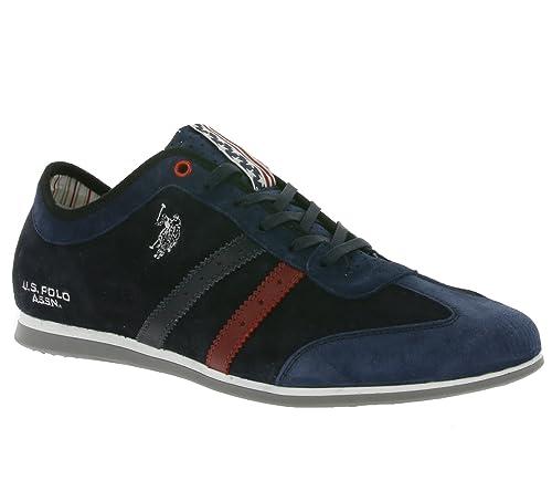 US Polo Association - Zapatillas de Piel para Hombre Azul Azul ...