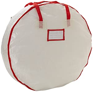 Household Essentials 2630 Heavy Duty Christmas Wreath Storage Bag with Red Trim   Holds Large Xmas Wreaths up to 30 inches
