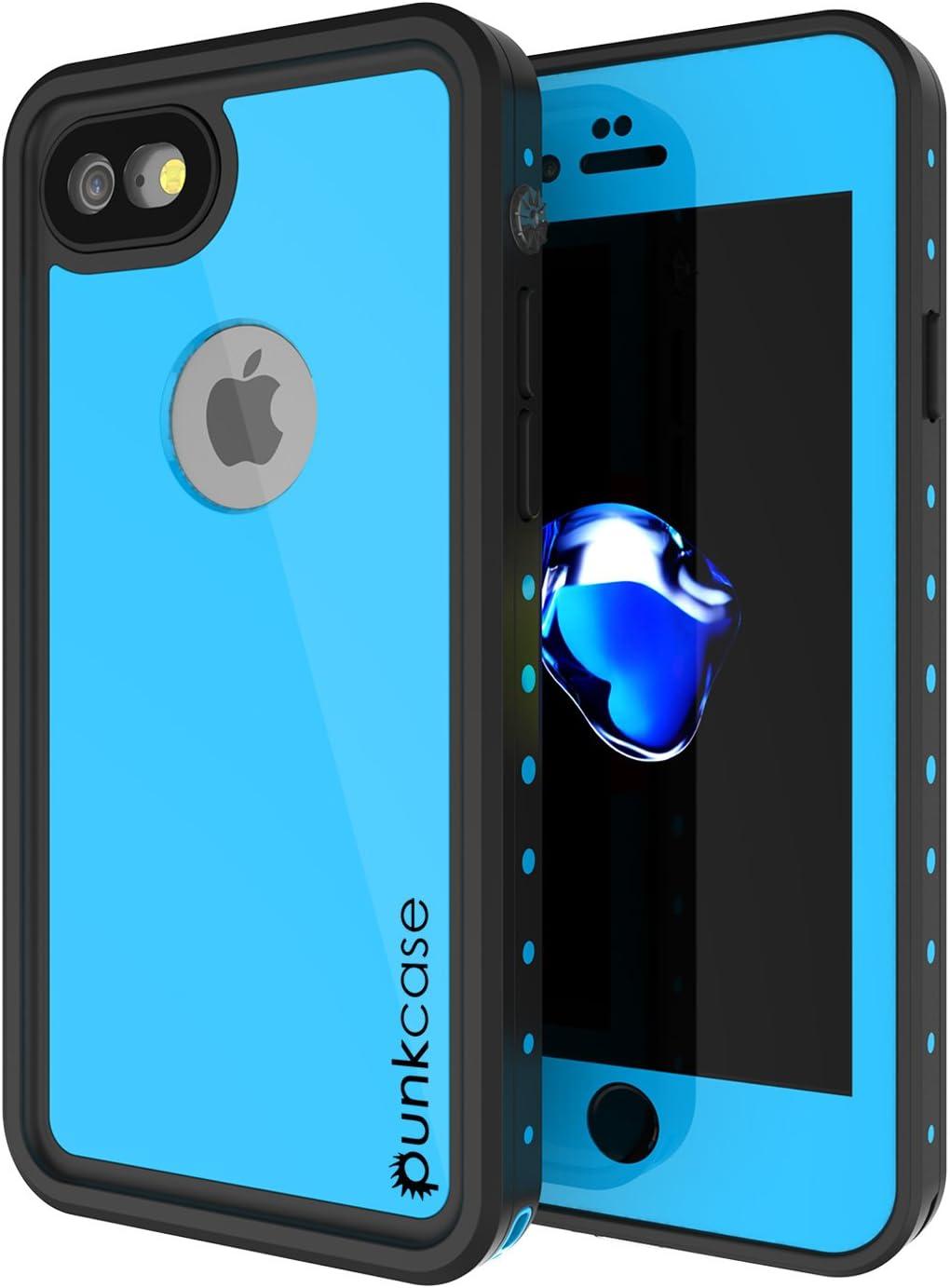 iPhone 7 Waterproof Case, Punkcase [StudStar Series] [Slim Fit] [IP68 Certified] [Shockproof] [Dirtproof] [Snowproof] Armor Cover for Apple iPhone 8 & 7 [Light Blue]