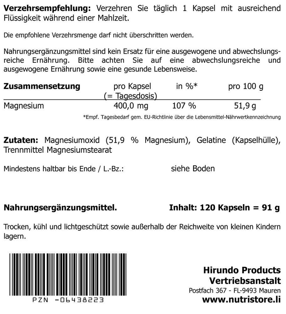 Magnesium 400 mg Kapseln 120 Stk. - hochdosiert - 4 Monatsvorrat ...