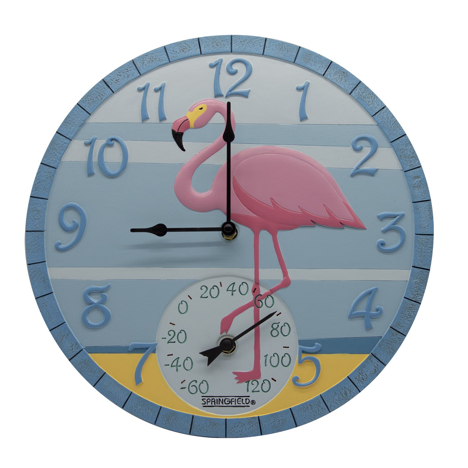 Taylor Precision Products 92680 14'' Poly Resin Flamingo Clock with Thermometer, Dial, Multicolored