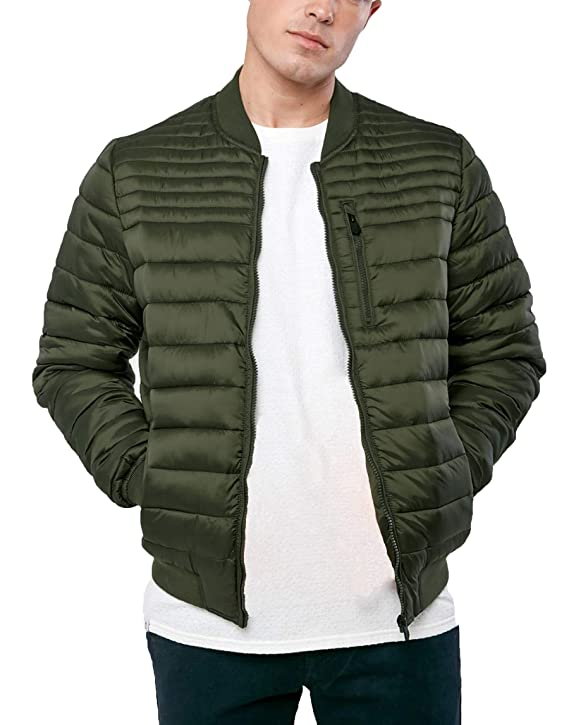 Threadbare Mens Quilted MA1 Bomber Jacket Padded Coat Winter Fashion Naples at Amazon Mens Clothing store: