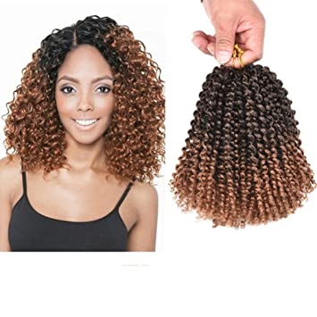 Refiend Marlibob Kinky Curly Crochet Hair Marly Braid Ombre Braiding Hair  6packs lot 8inch Curly 4b9495589247